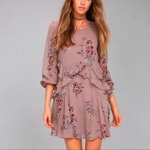 ASTR the label heather mauve floral dress new